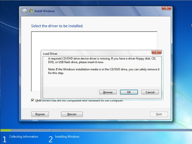 "How to Fix ""A required CD/DVD drive device driver is missing"" in Windows 7 Install"