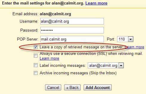 Add Mail Account Settings