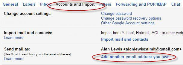 Adding your email address to your Gmail account