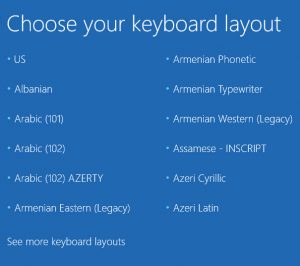 MS DaRT 10 for Windows 10 - choose keyboard layout