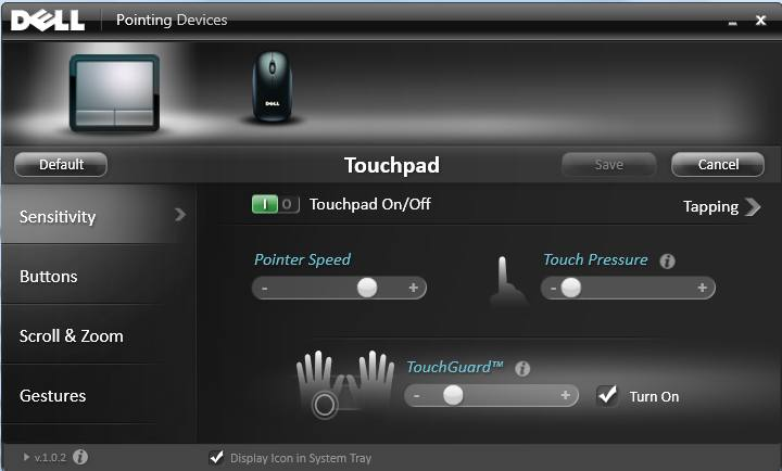 Dell TouchPad GUI with No Trackpad