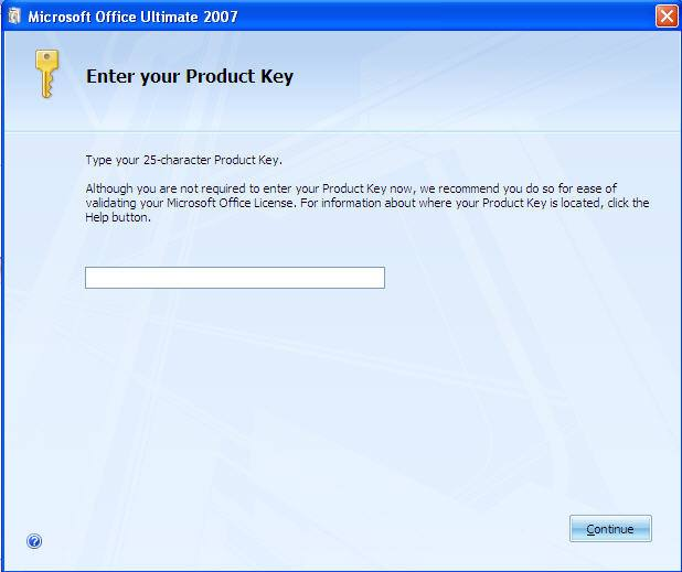 enter product key for microsoft office