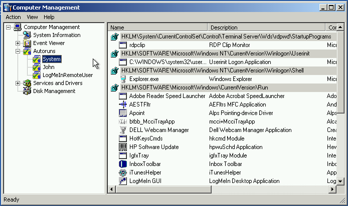 managing startup programs with erd commander using autoruns
