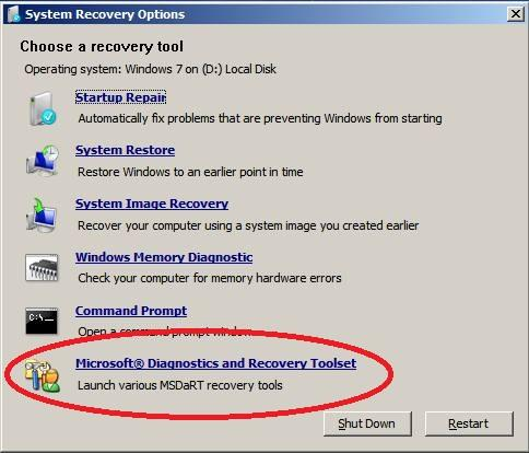 erd commander system recovery options - choose a recovery tool