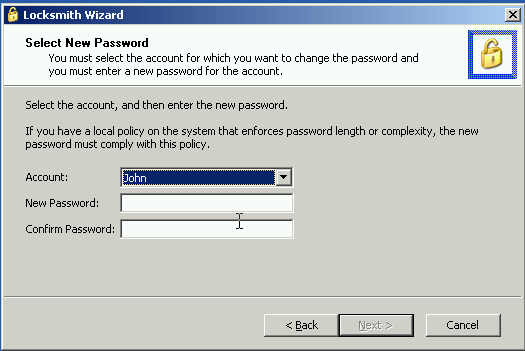 ERD Commander Locksmith Wizard - Change Password
