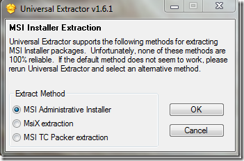 Extract MSI with Universal Extractor