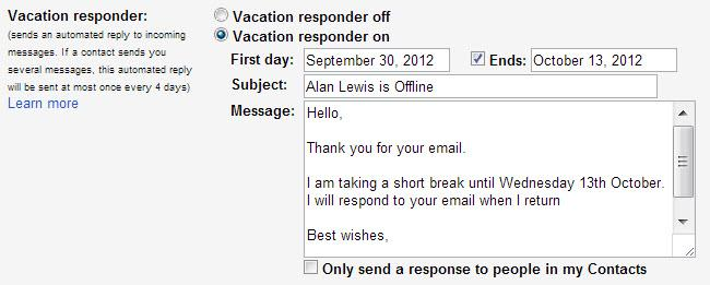 Gmail Automatic Vacation Responder