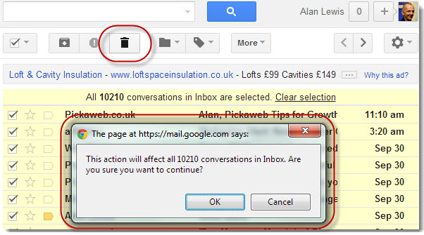Gmail - confirm deletion of all conversations