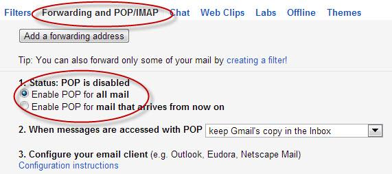 Enabling POP email in Gmail
