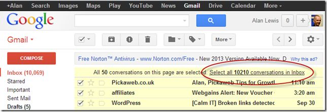 Gmail -Select All Conversations