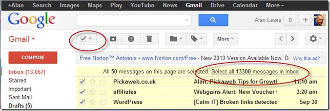 Gmail -Select All Messages