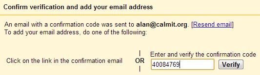 enter verification code that was sent in the email