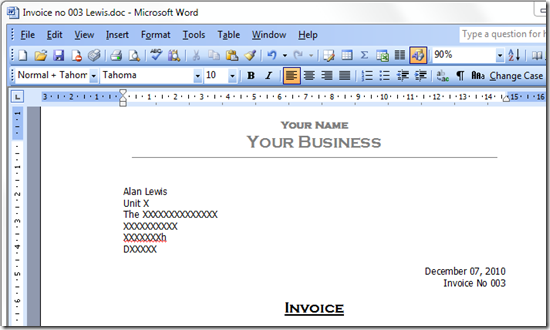 Sequentially Numbered Invoice Template For Ms Word