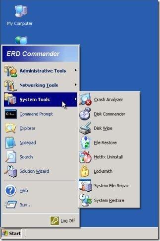 Select System Restore - ERD Commander
