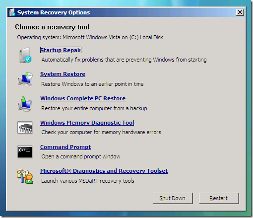 MS DART for Windows 7 and Vista System Recovery Options