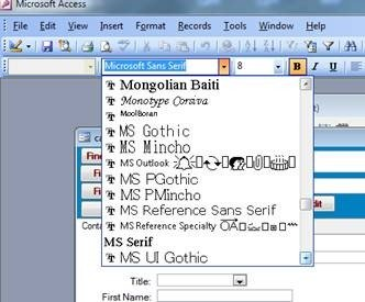 MS Sans Serif absent in MS Access