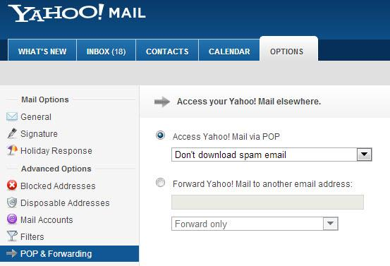 Pop and Forwarding in Yahoo Mail