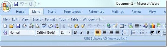 ubit menu for Word 2007 2010 Ribbon