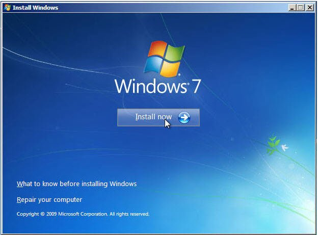 Install Windows 7 now